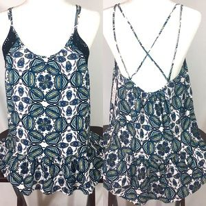 Melrose and Market Medallion Print Criss Cross Top